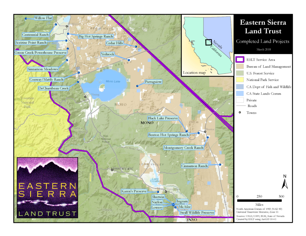 Eastern Sierra Land Trust completed conservation project map