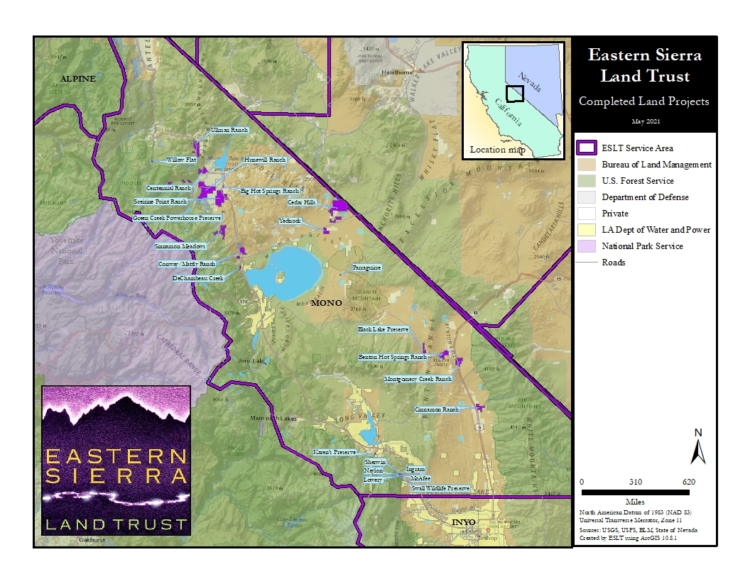 Eastern Sierra Land Trust completed land conservation projects map